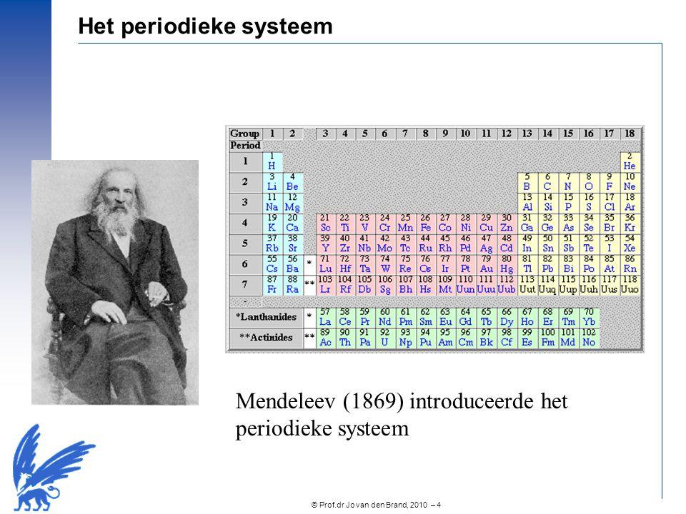 © Prof.dr Jo van den Brand, 2010 – 5 De structuur van atomen Rutherford (1912) toonde aan dat atomen een centrale kern bevatten Elektronen draaien rond de kern met precies gedefinieerde energie en slecht gedefinieerde posities 10 -10 m