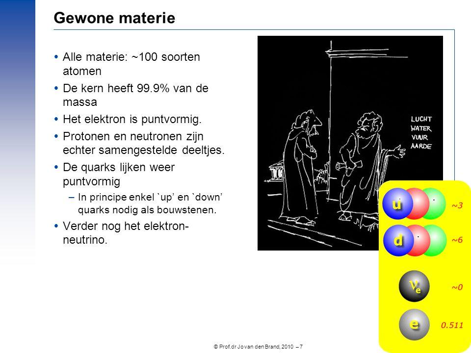 © Prof.dr Jo van den Brand, 2010 – 7 Gewone materie  Alle materie: ~100 soorten atomen  De kern heeft 99.9% van de massa  Het elektron is puntvormi