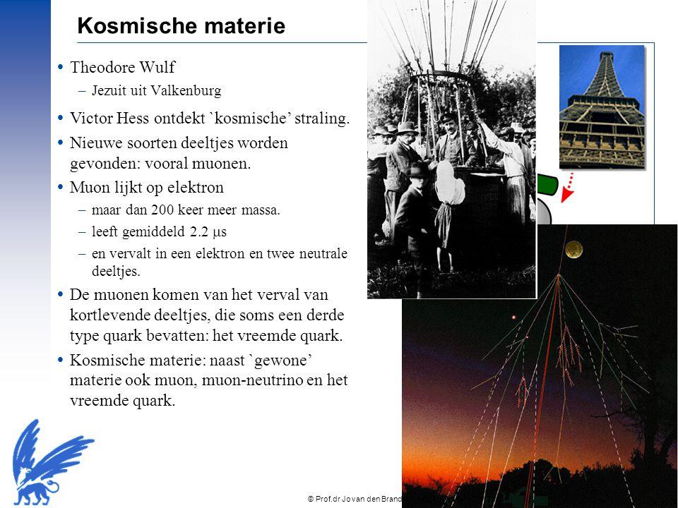 © Prof.dr Jo van den Brand, 2010 – 8 Kosmische materie  Theodore Wulf –Jezuit uit Valkenburg  Victor Hess ontdekt `kosmische' straling.  Nieuwe soo
