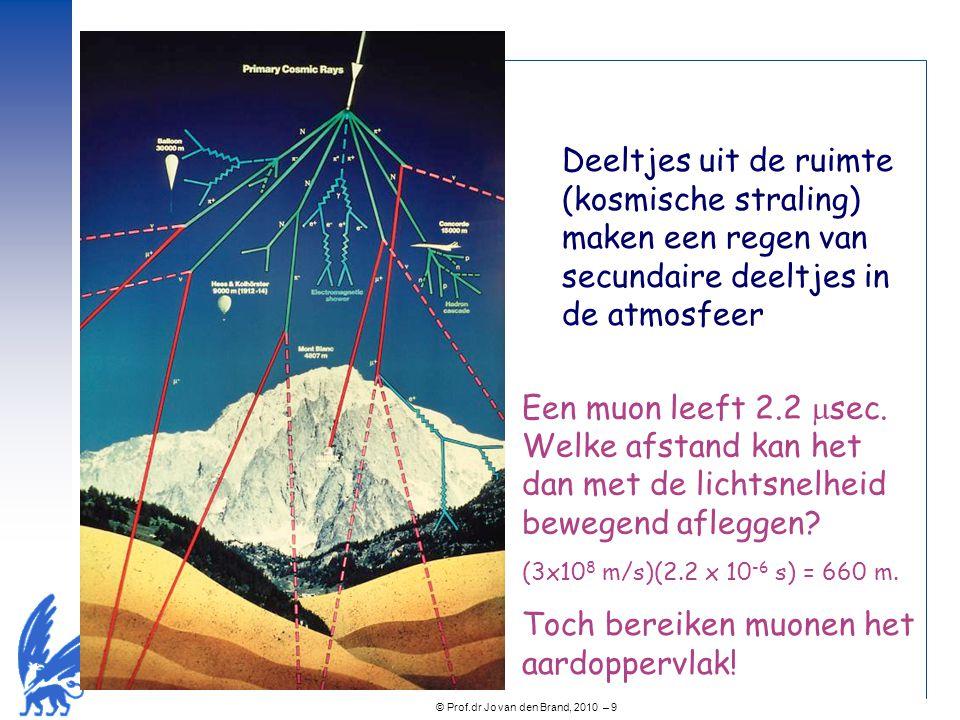 © Prof.dr Jo van den Brand, 2010 – 9 Deeltjes uit de ruimte (kosmische straling) maken een regen van secundaire deeltjes in de atmosfeer Een muon leef