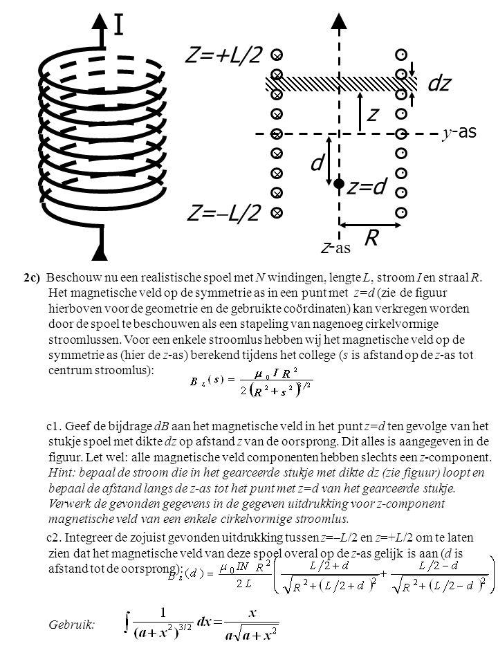 2c) Beschouw nu een realistische spoel met N windingen, lengte L, stroom I en straal R. Het magnetische veld op de symmetrie as in een punt met z=d (z