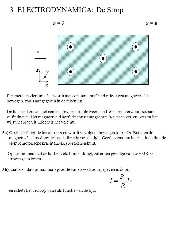 Een metalen vierkante lus wordt met constante snelheid v door een magneetveld bewogen, zoals aangegeven in de tekening. De lus heeft zijdes met een le