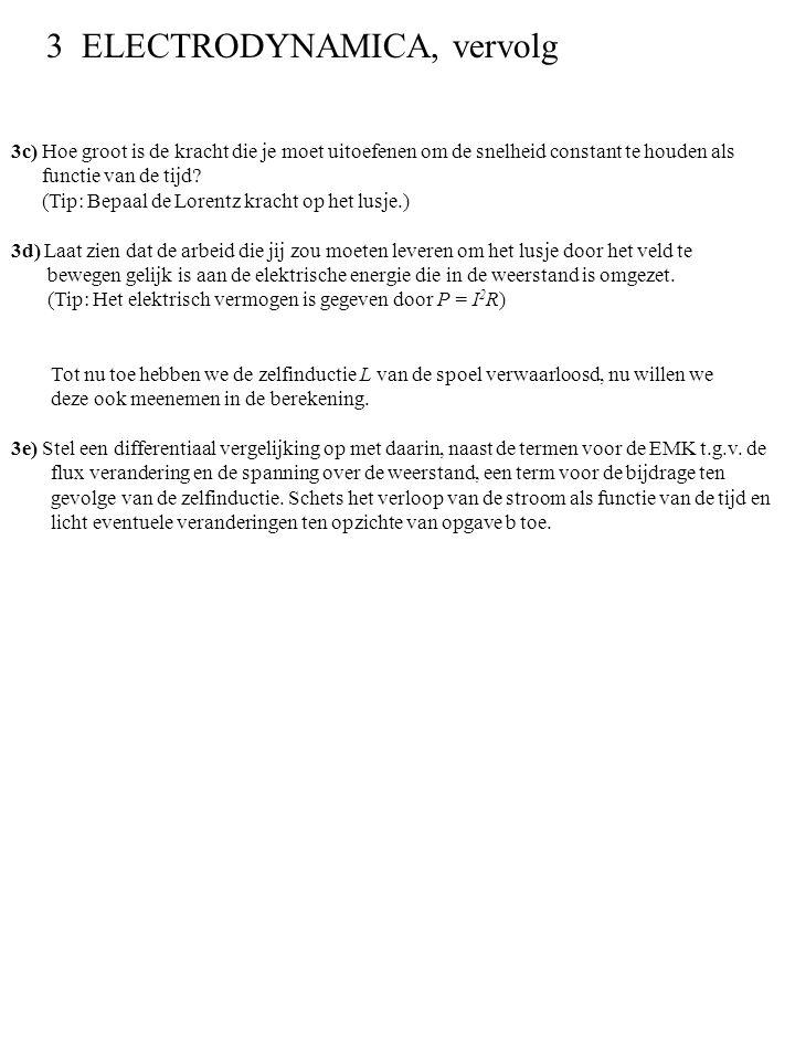 3c) Hoe groot is de kracht die je moet uitoefenen om de snelheid constant te houden als functie van de tijd? (Tip: Bepaal de Lorentz kracht op het lus