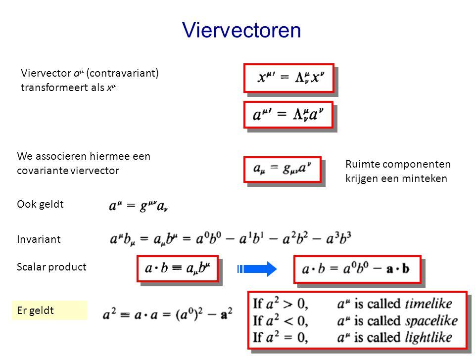 July 29, 2014Jo van den Brand13 Viervectoren Viervector a  (contravariant) transformeert als x  We associeren hiermee een covariante viervector Ruimte componenten krijgen een minteken Ook geldt Invariant Scalar product Er geldt