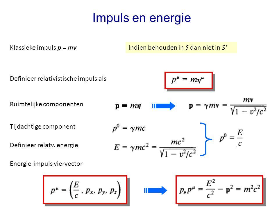 Impuls en energie Definieer relativistische impuls als Indien behouden in S dan niet in S Ruimtelijke componenten Klassieke impuls p = mv Tijdachtige component Definieer relatv.