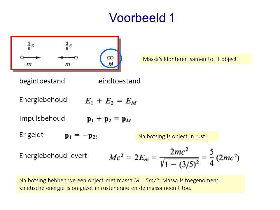 Voorbeeld 1 begintoestand Massa's klonteren samen tot 1 object eindtoestand Impulsbehoud Er geldt Energiebehoud Energiebehoud levert Na botsing is object in rust.