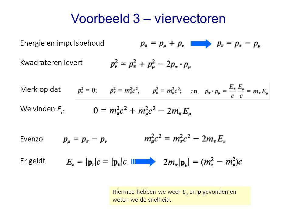 Voorbeeld 3 – viervectoren Er geldt Energie en impulsbehoud Hiermee hebben we weer E  en p gevonden en weten we de snelheid.