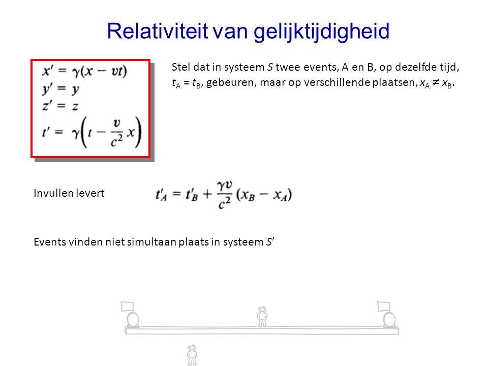 Relativiteit van gelijktijdigheid Stel dat in systeem S twee events, A en B, op dezelfde tijd, t A = t B, gebeuren, maar op verschillende plaatsen, x A  x B.