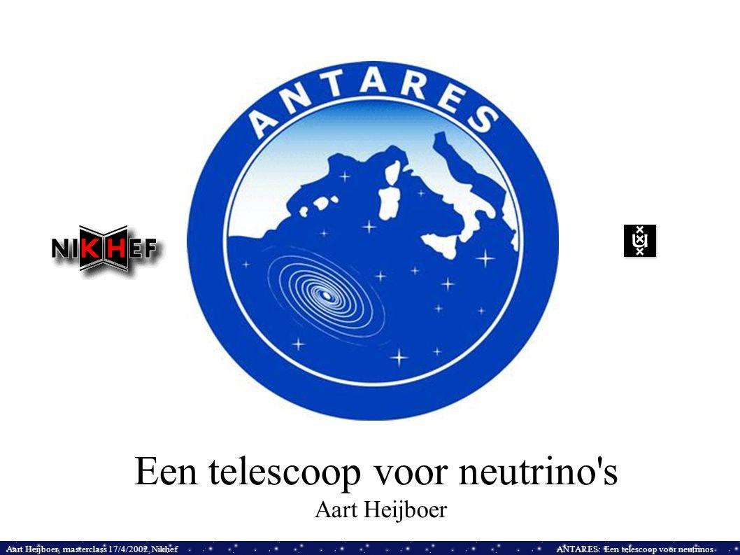 Aart Heijboer, masterclass 17/4/2002, NikhefANTARES: Een telescoop voor neutrinos Een telescoop voor neutrino s Aart Heijboer
