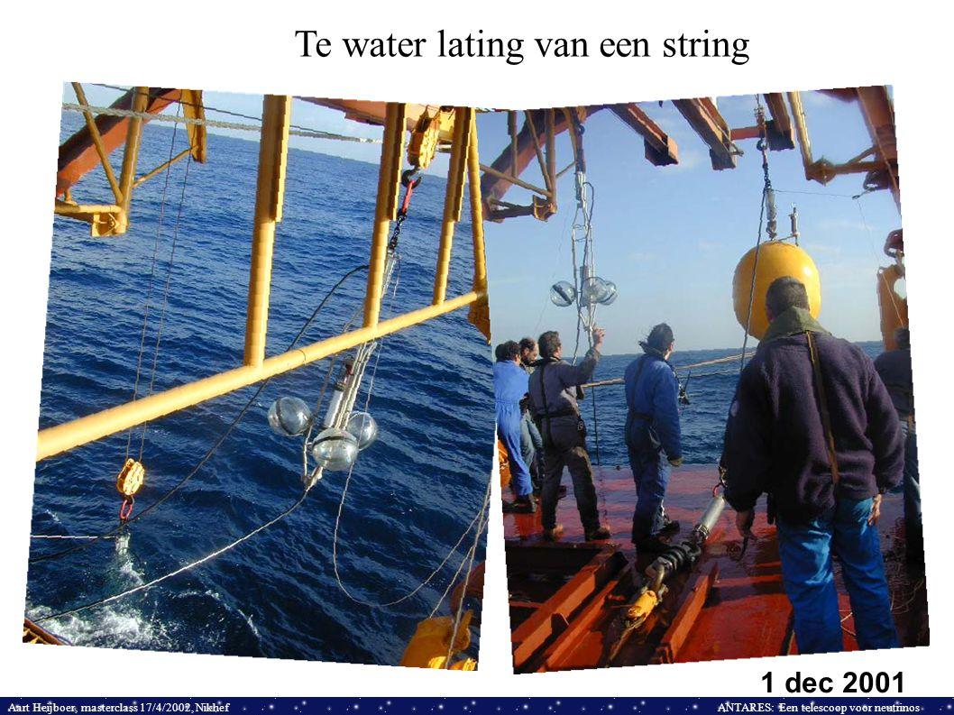 Aart Heijboer, masterclass 17/4/2002, NikhefANTARES: Een telescoop voor neutrinos Te water lating van een string 1 dec 2001