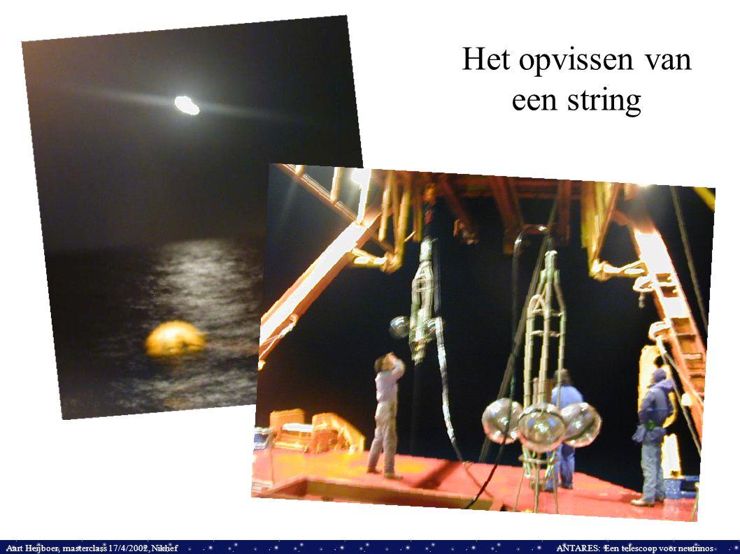 Aart Heijboer, masterclass 17/4/2002, NikhefANTARES: Een telescoop voor neutrinos Het opvissen van een string