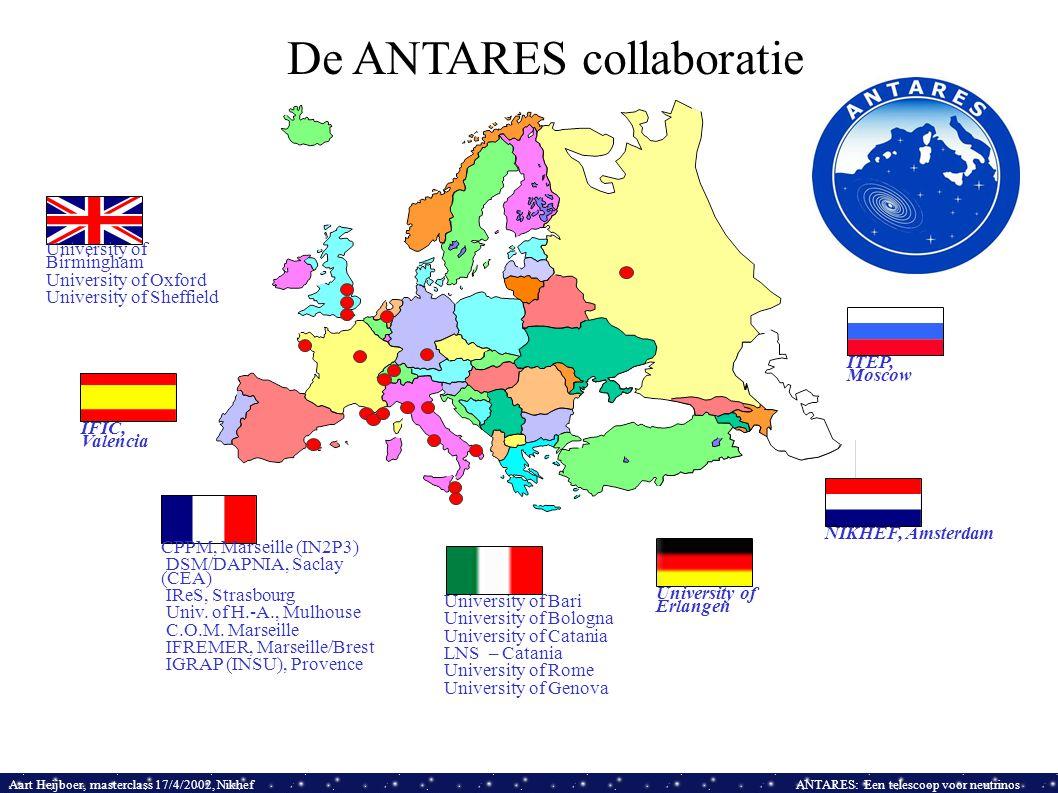Aart Heijboer, masterclass 17/4/2002, NikhefANTARES: Een telescoop voor neutrinos De ANTARES collaboratie CPPM, Marseille (IN2P3) DSM/DAPNIA, Saclay (CEA) IReS, Strasbourg Univ.