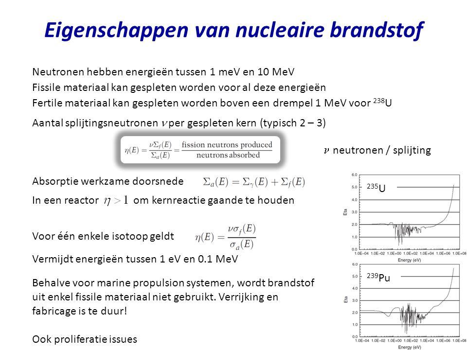 Eigenschappen van nucleaire brandstof Neutronen hebben energieën tussen 1 meV en 10 MeV Fissile materiaal kan gespleten worden voor al deze energieën