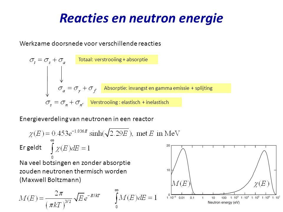 Reacties en neutron energie Werkzame doorsnede voor verschillende reacties Totaal: verstrooiing + absorptie Verstrooiing : elastisch + inelastisch Abs