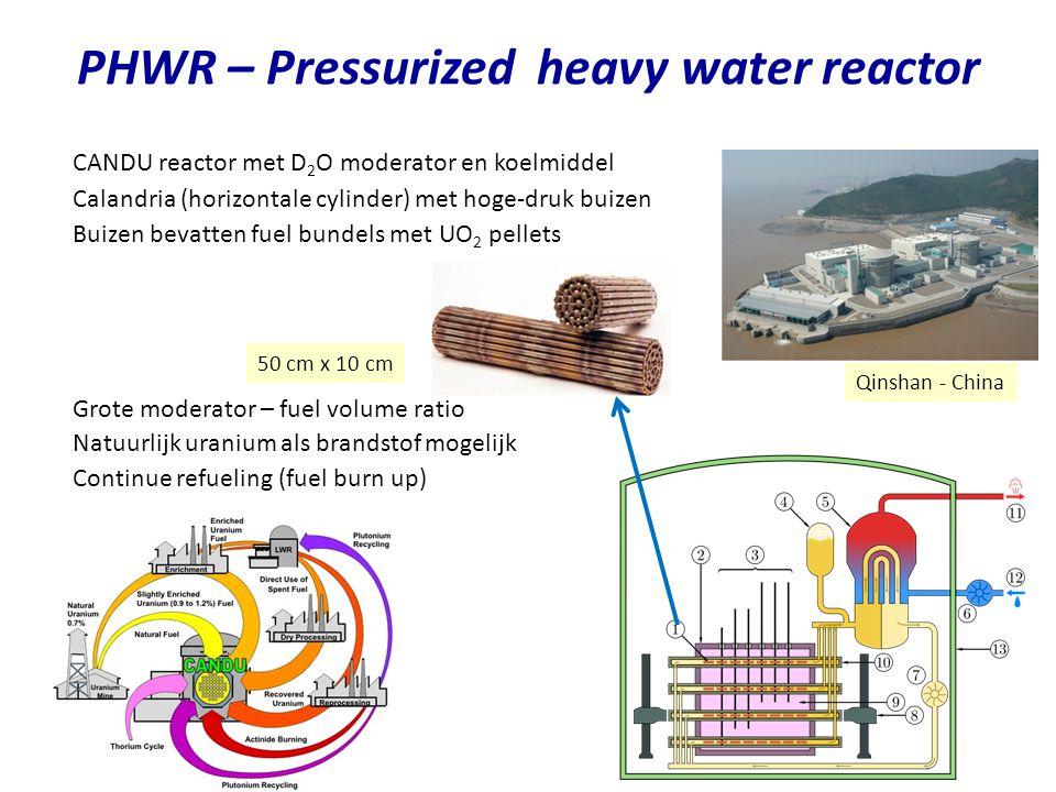 PHWR – Pressurized heavy water reactor CANDU reactor met D 2 O moderator en koelmiddel Calandria (horizontale cylinder) met hoge-druk buizen Buizen be