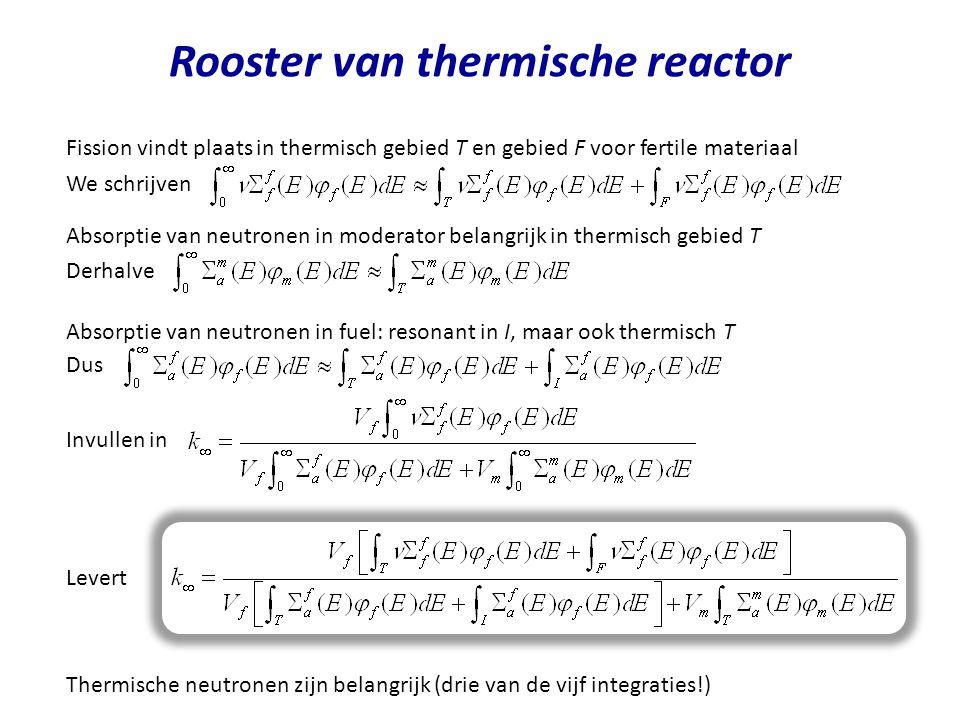 Rooster van thermische reactor Fission vindt plaats in thermisch gebied T en gebied F voor fertile materiaal We schrijven Absorptie van neutronen in m