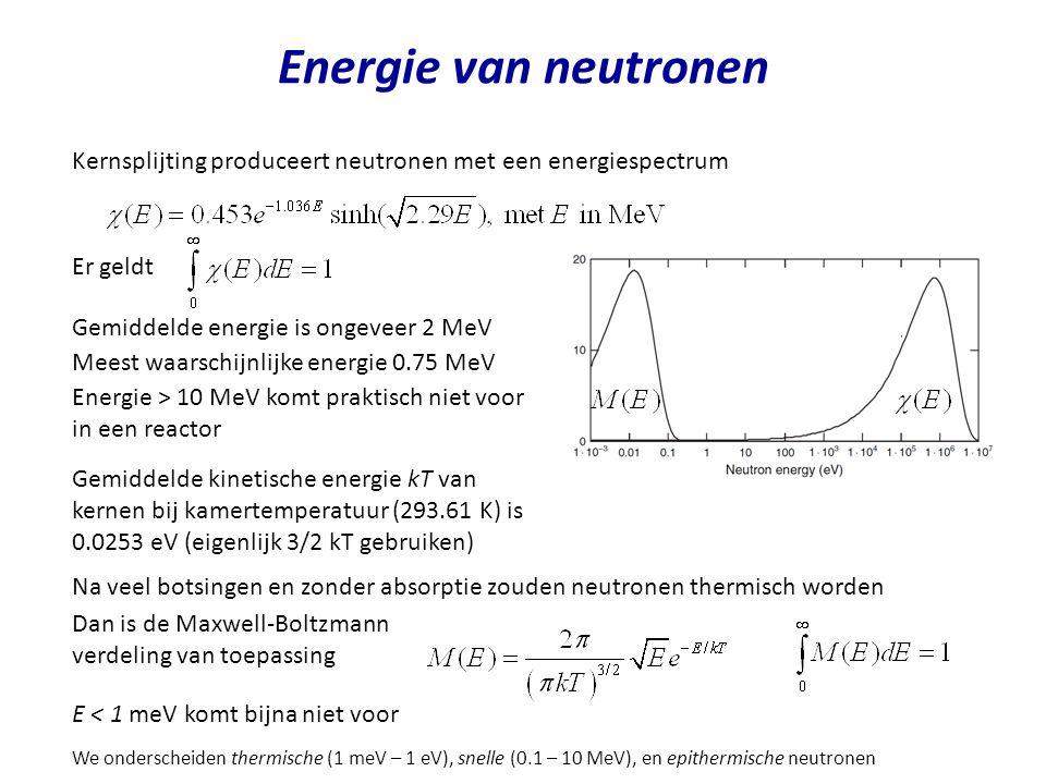 Energie van neutronen Kernsplijting produceert neutronen met een energiespectrum Er geldt Gemiddelde energie is ongeveer 2 MeV Meest waarschijnlijke e
