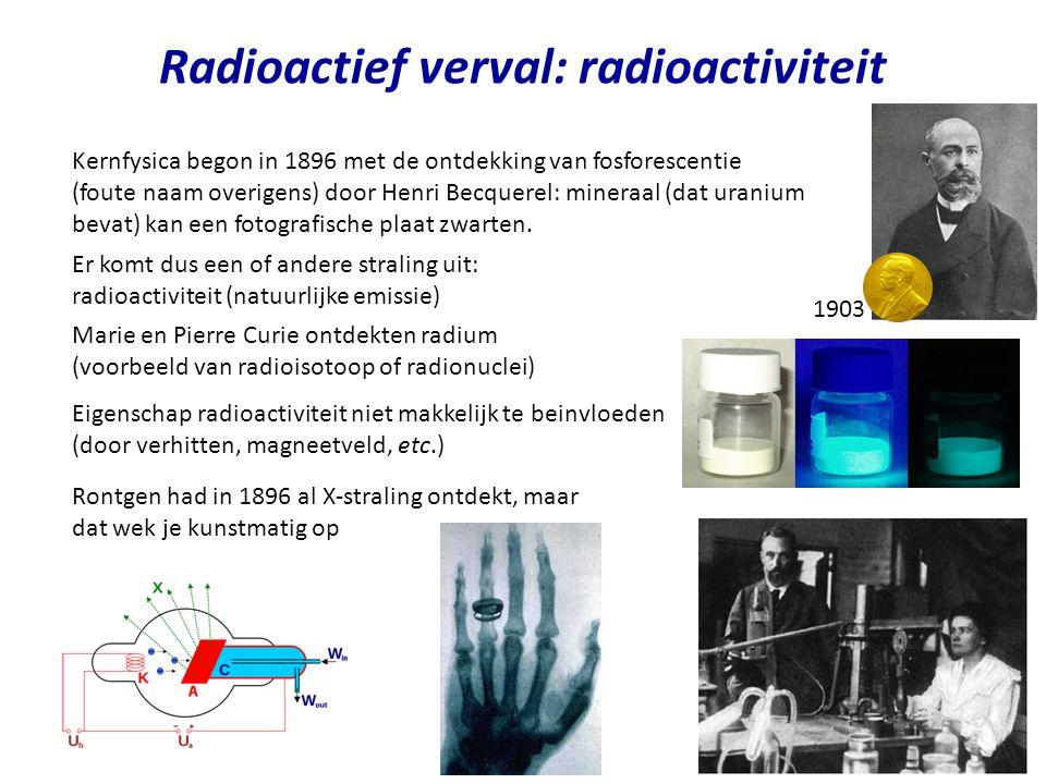 Radioactief verval: radioactiviteit Kernfysica begon in 1896 met de ontdekking van fosforescentie (foute naam overigens) door Henri Becquerel: mineraa