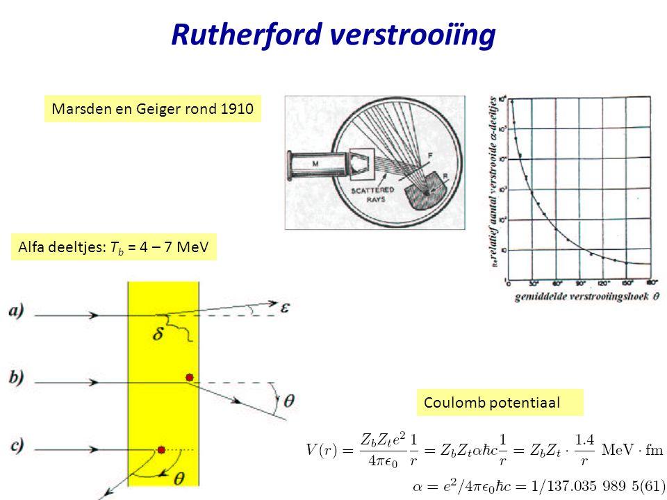 Najaar 2004 Rutherford verstrooiïng Marsden en Geiger rond 1910 Coulomb potentiaal Alfa deeltjes: T b = 4 – 7 MeV