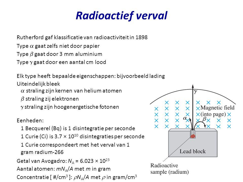Radioactief verval Rutherford gaf klassificatie van radioactiviteit in 1898 Type  gaat zelfs niet door papier Type  gaat door 3 mm aluminium Type 