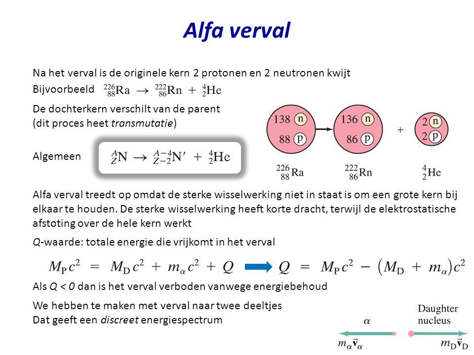 Alfa verval Na het verval is de originele kern 2 protonen en 2 neutronen kwijt Bijvoorbeeld De dochterkern verschilt van de parent (dit proces heet tr