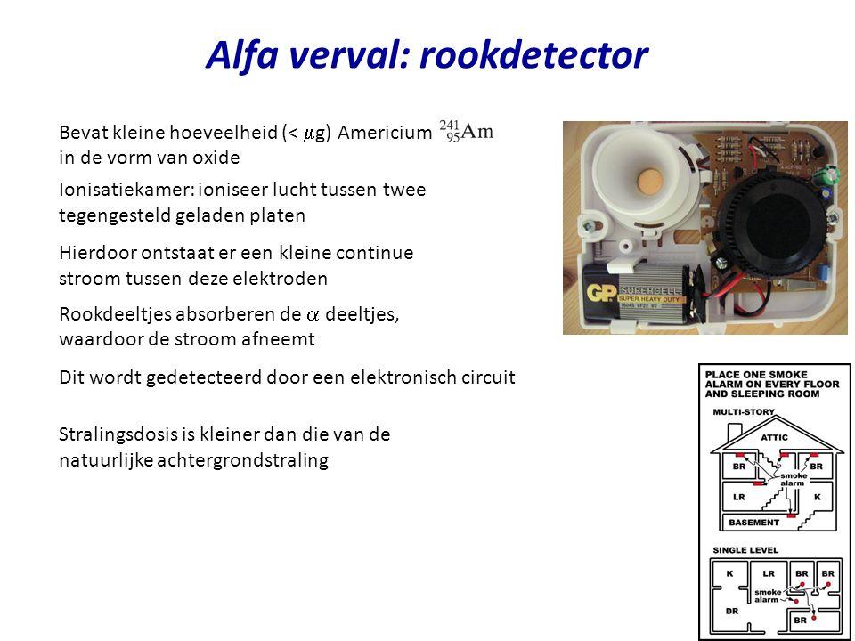 Alfa verval: rookdetector Bevat kleine hoeveelheid (<  g) Americium in de vorm van oxide Ionisatiekamer: ioniseer lucht tussen twee tegengesteld gela
