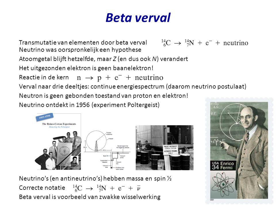 Beta verval Transmutatie van elementen door beta verval Neutrino was oorspronkelijk een hypothese Atoomgetal blijft hetzelfde, maar Z (en dus ook N) v