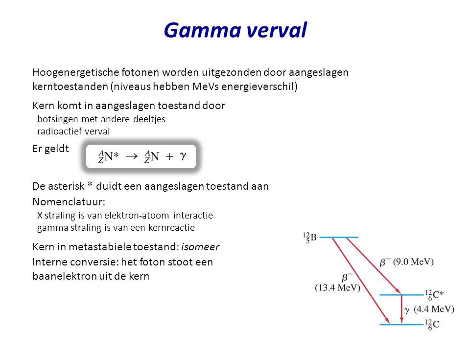 Gamma verval Hoogenergetische fotonen worden uitgezonden door aangeslagen kerntoestanden (niveaus hebben MeVs energieverschil) Kern komt in aangeslage