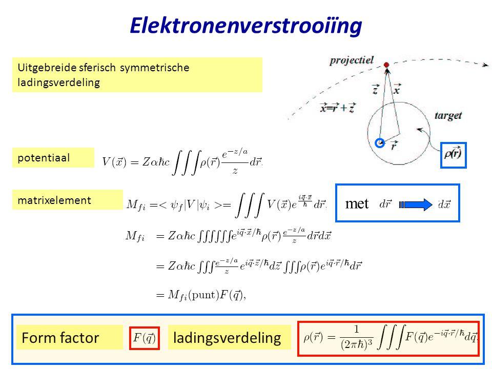 Najaar 2004Jo van den Brand9 Elektronenverstrooiïng Uitgebreide sferisch symmetrische ladingsverdeling potentiaal matrixelement met Form factorladings