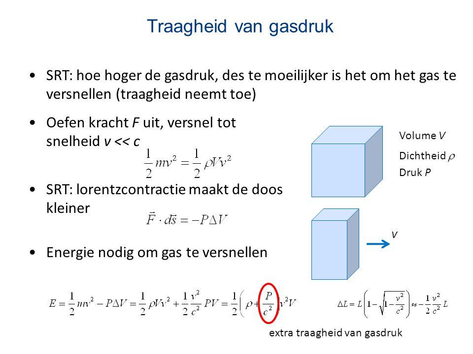 Traagheid van gasdruk SRT: hoe hoger de gasdruk, des te moeilijker is het om het gas te versnellen (traagheid neemt toe) Volume V Dichtheid  Druk P O