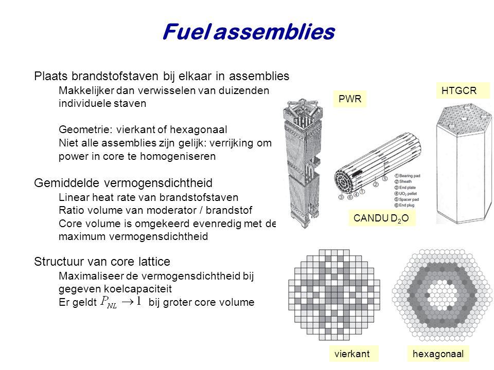 Fuel assemblies Plaats brandstofstaven bij elkaar in assemblies Makkelijker dan verwisselen van duizenden individuele staven Geometrie: vierkant of hexagonaal Niet alle assemblies zijn gelijk: verrijking om power in core te homogeniseren Gemiddelde vermogensdichtheid Linear heat rate van brandstofstaven Ratio volume van moderator / brandstof Core volume is omgekeerd evenredig met de maximum vermogensdichtheid Structuur van core lattice Maximaliseer de vermogensdichtheid bij gegeven koelcapaciteit Er geldt bij groter core volume PWR CANDU D 2 O HTGCR vierkanthexagonaal