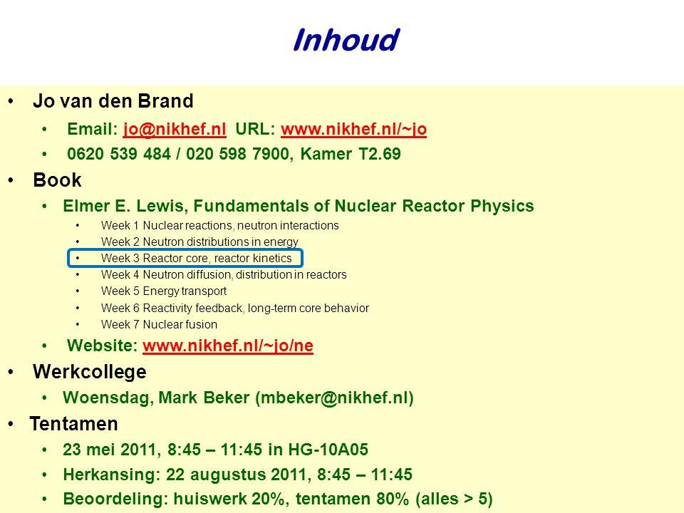 Najaar 2009Jo van den Brand Inhoud Jo van den Brand Email: jo@nikhef.nl URL: www.nikhef.nl/~jo jo@nikhef.nlwww.nikhef.nl/~jo 0620 539 484 / 020 598 79