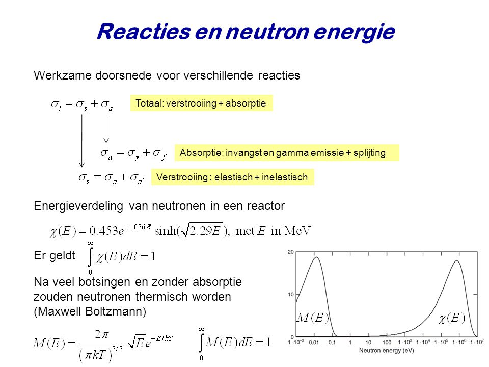 Reacties en neutron energie Werkzame doorsnede voor verschillende reacties Totaal: verstrooiing + absorptie Verstrooiing : elastisch + inelastisch Absorptie: invangst en gamma emissie + splijting Er geldt Energieverdeling van neutronen in een reactor Na veel botsingen en zonder absorptie zouden neutronen thermisch worden (Maxwell Boltzmann)