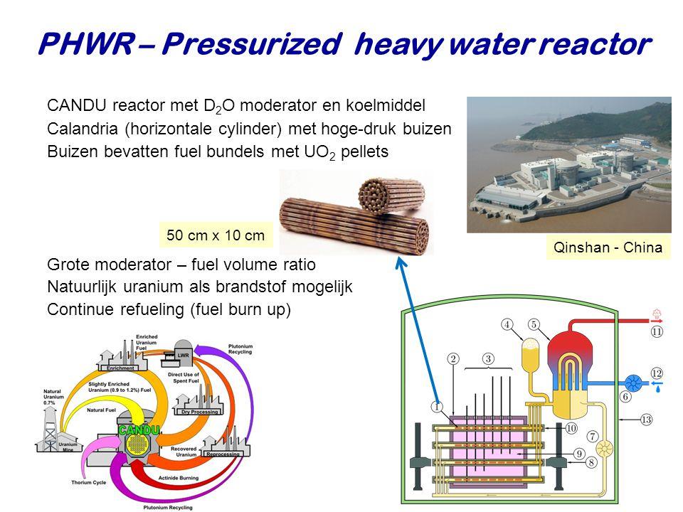 PHWR – Pressurized heavy water reactor CANDU reactor met D 2 O  moderator en koelmiddel Calandria (horizontale cylinder) met hoge-druk buizen Buizen