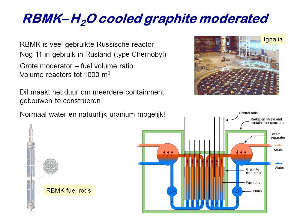 RBMK– H 2 O cooled graphite moderated RBMK is veel gebruikte Russische reactor Grote moderator – fuel volume ratio Volume reactors tot 1000 m 3 Dit ma