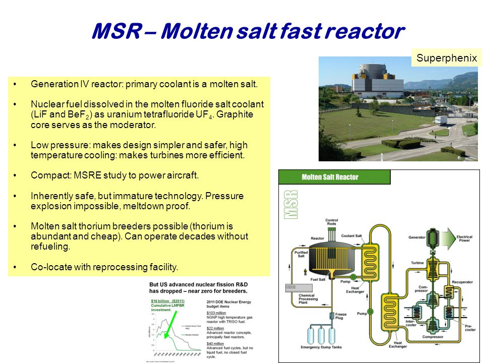 MSR – Molten salt fast reactor Najaar 2007Jo van den Brand37 Generation IV reactor: primary coolant is a molten salt.