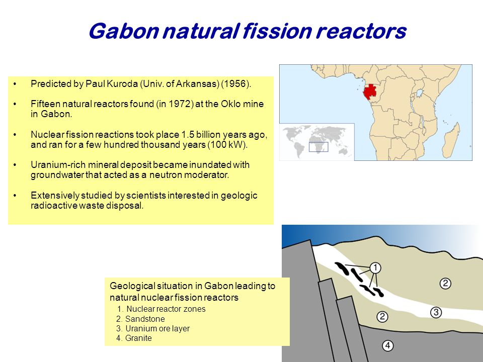 Gabon natural fission reactors Najaar 2007Jo van den Brand38 Predicted by Paul Kuroda (Univ.