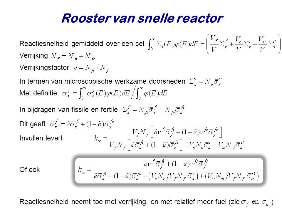 Rooster van snelle reactor Reactiesnelheid gemiddeld over een cel Verrijking Verrijkingsfactor In termen van microscopische werkzame doorsneden In bijdragen van fissile en fertile Dit geeft Invullen levert Met definitie Of ook Reactiesnelheid neemt toe met verrijking, en met relatief meer fuel (zie )