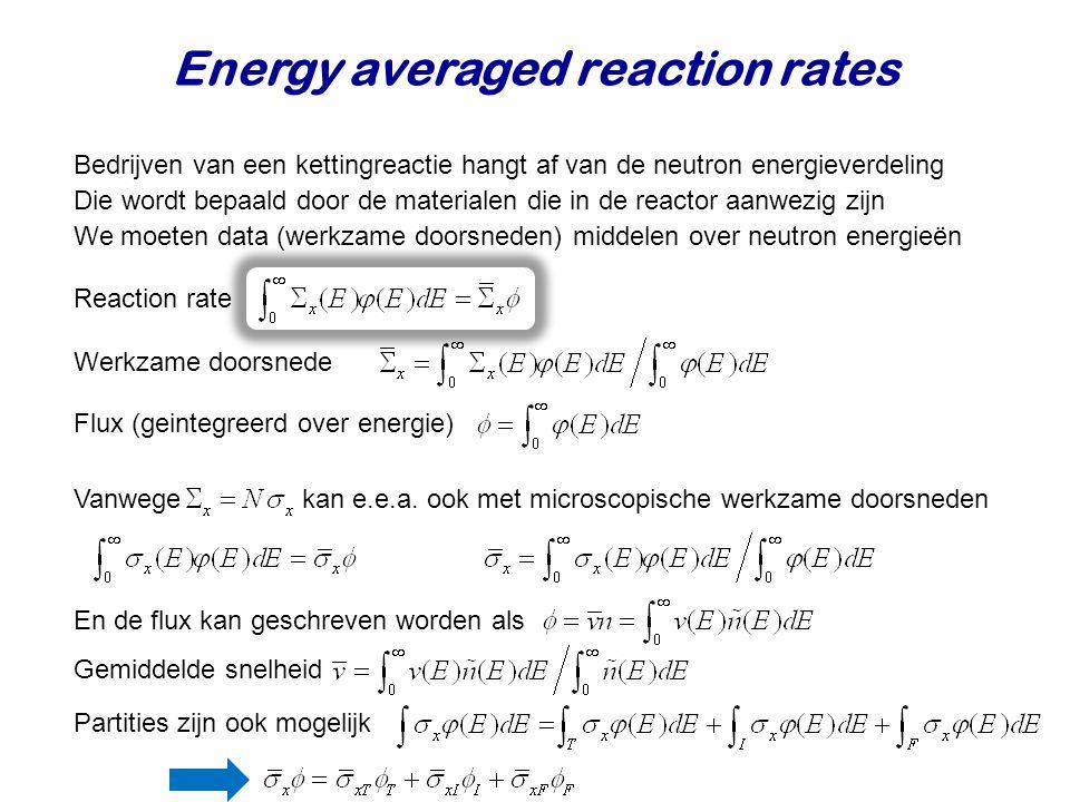 Energy averaged reaction rates Bedrijven van een kettingreactie hangt af van de neutron energieverdeling We moeten data (werkzame doorsneden) middelen