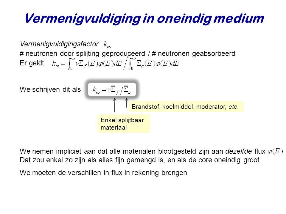Vermenigvuldiging in oneindig medium Vermenigvuldigingsfactor Er geldt # neutronen door splijting geproduceerd / # neutronen geabsorbeerd We nemen imp