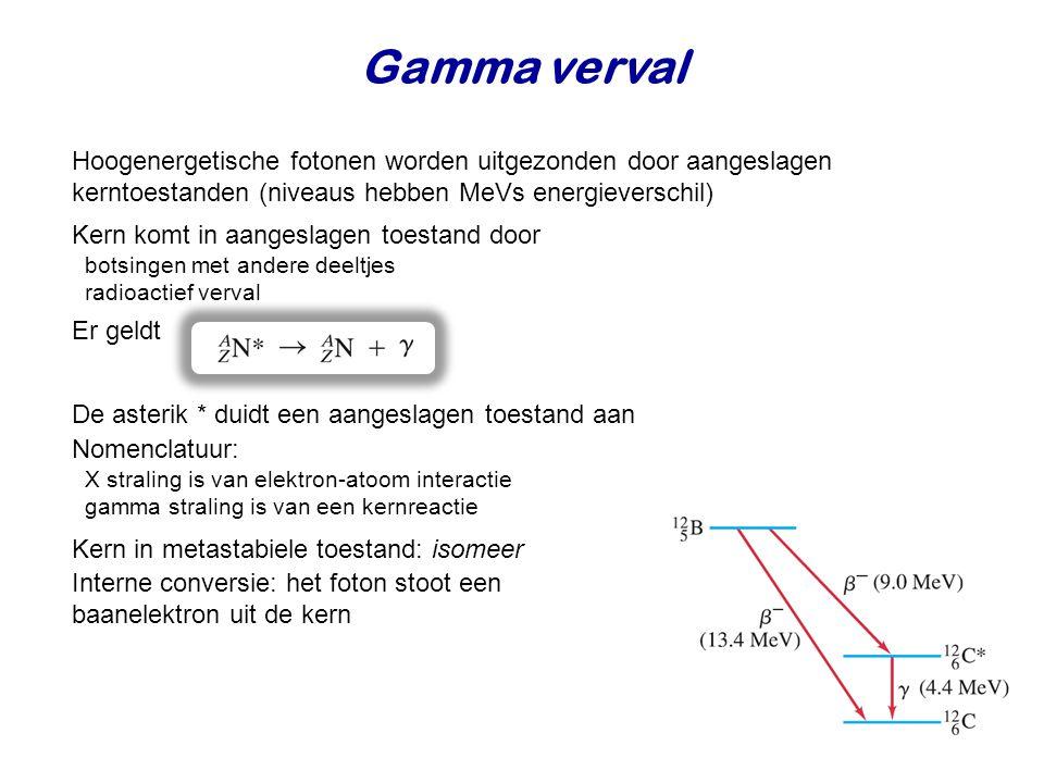 Gamma verval Hoogenergetische fotonen worden uitgezonden door aangeslagen kerntoestanden (niveaus hebben MeVs energieverschil) Kern komt in aangeslagen toestand door botsingen met andere deeltjes radioactief verval Er geldt De asterik * duidt een aangeslagen toestand aan Nomenclatuur: X straling is van elektron-atoom interactie gamma straling is van een kernreactie Kern in metastabiele toestand: isomeer Interne conversie: het foton stoot een baanelektron uit de kern