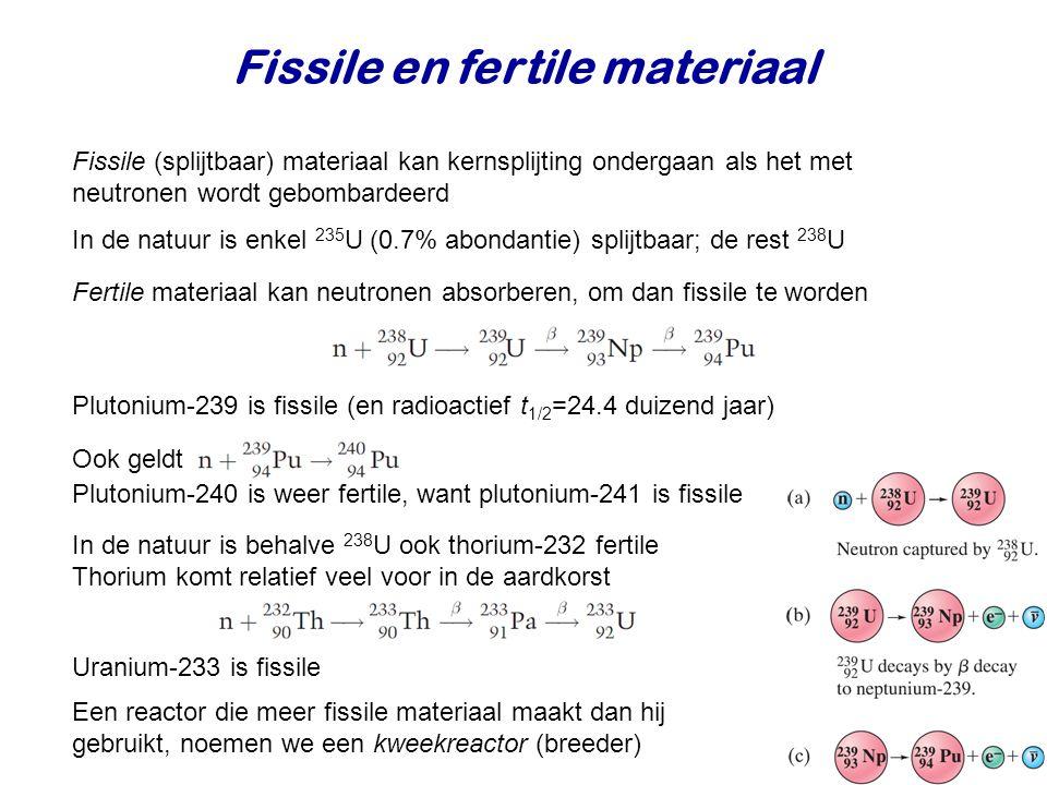 Fissile en fertile materiaal Fissile (splijtbaar) materiaal kan kernsplijting ondergaan als het met neutronen wordt gebombardeerd Fertile materiaal kan neutronen absorberen, om dan fissile te worden Plutonium-239 is fissile (en radioactief t 1/2 =24.4 duizend jaar) In de natuur is behalve 238 U ook thorium-232 fertile Thorium komt relatief veel voor in de aardkorst In de natuur is enkel 235 U (0.7% abondantie) splijtbaar; de rest 238 U Ook geldt Plutonium-240 is weer fertile, want plutonium-241 is fissile Uranium-233 is fissile Een reactor die meer fissile materiaal maakt dan hij gebruikt, noemen we een kweekreactor (breeder)