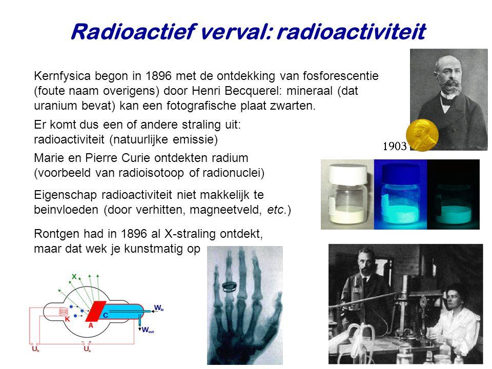 Radioactief verval: radioactiviteit Kernfysica begon in 1896 met de ontdekking van fosforescentie (foute naam overigens) door Henri Becquerel: mineraal (dat uranium bevat) kan een fotografische plaat zwarten.