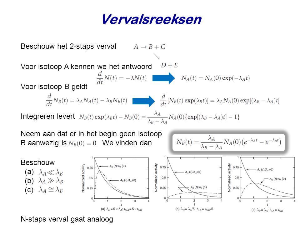 Vervalsreeksen Beschouw het 2-staps verval Voor isotoop A kennen we het antwoord Voor isotoop B geldt Integreren levert Neem aan dat er in het begin geen isotoop B aanwezig is We vinden dan Beschouw (a) (b) (c) N-staps verval gaat analoog