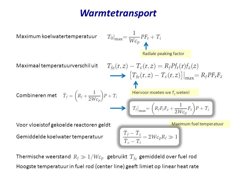 Warmtetransport Maximum koelwatertemperatuur Maximaal temperatuurverschil uit Combineren met Voor vloeistof gekoelde reactoren geldt Radiale peaking factor Gemiddelde koelwater temperatuur Maximum fuel temperatuur Hiervoor moeten we T c weten.