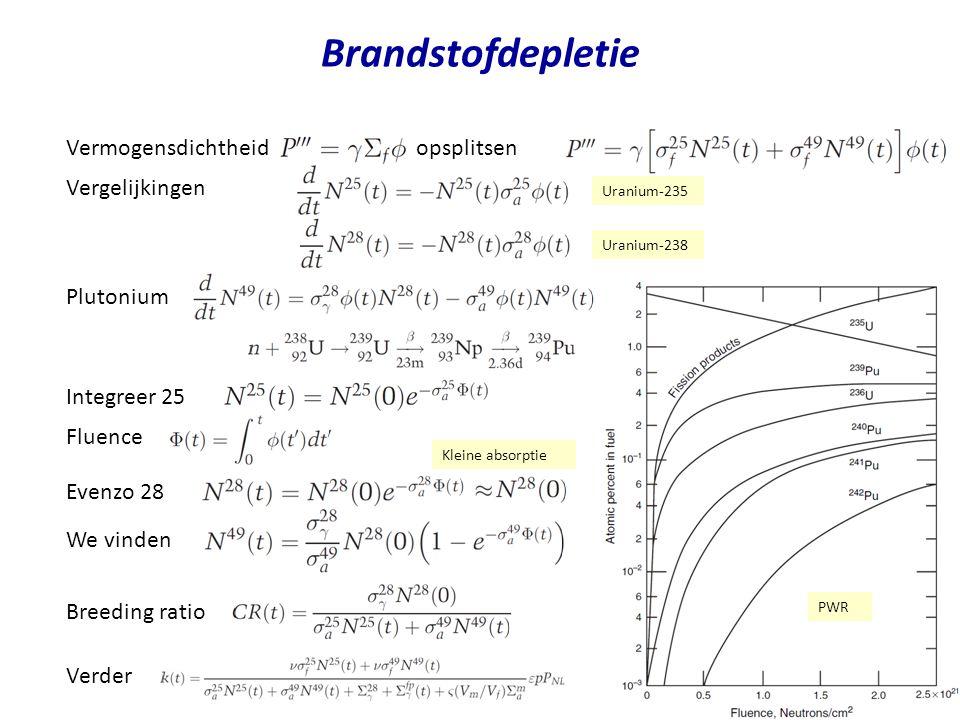 Brandstofdepletie Vermogensdichtheid opsplitsen Fluence Vergelijkingen Plutonium Integreer 25 Uranium-235 Evenzo 28 We vinden Uranium-238 Kleine absorptie PWR Breeding ratio Verder