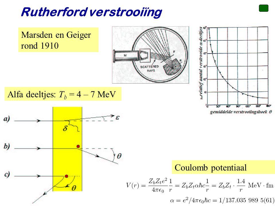 Voorjaar 2010 Rutherford verstrooiïng Marsden en Geiger rond 1910 Coulomb potentiaal Alfa deeltjes: T b = 4 – 7 MeV