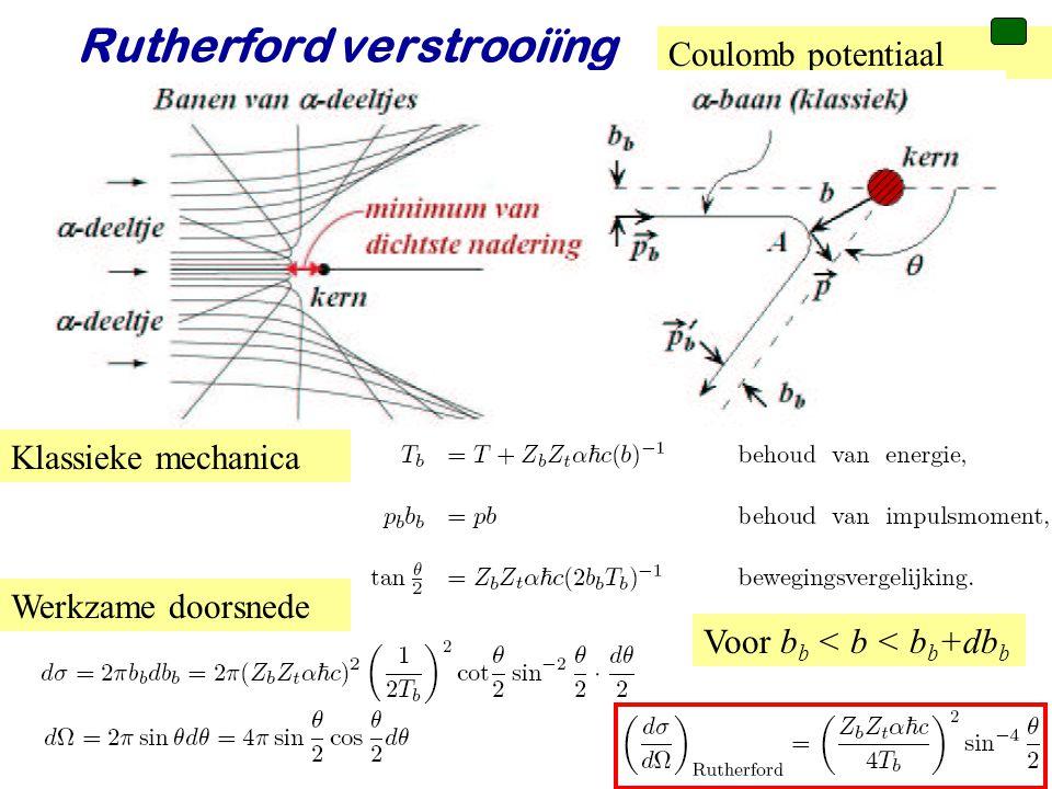 Voorjaar 2010Jo van den Brand32 Rutherford verstrooiïng Coulomb potentiaal Klassieke mechanica Werkzame doorsnede Voor b b < b < b b +db b