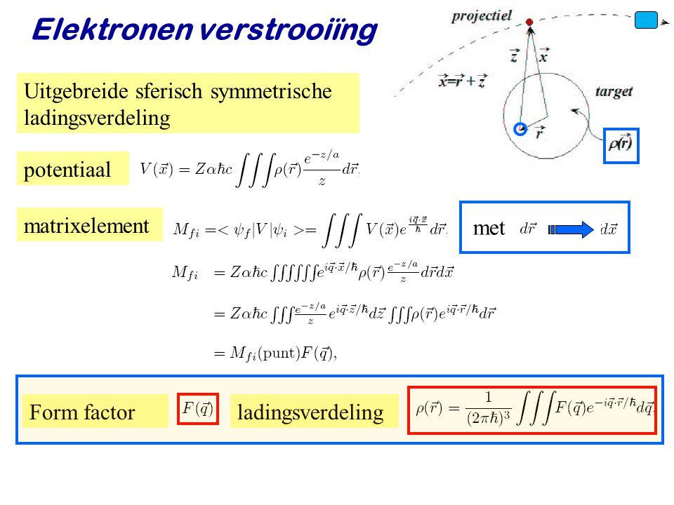 Voorjaar 2010Jo van den Brand37 Elektronen verstrooiïng Uitgebreide sferisch symmetrische ladingsverdeling potentiaal matrixelement met Form factorlad