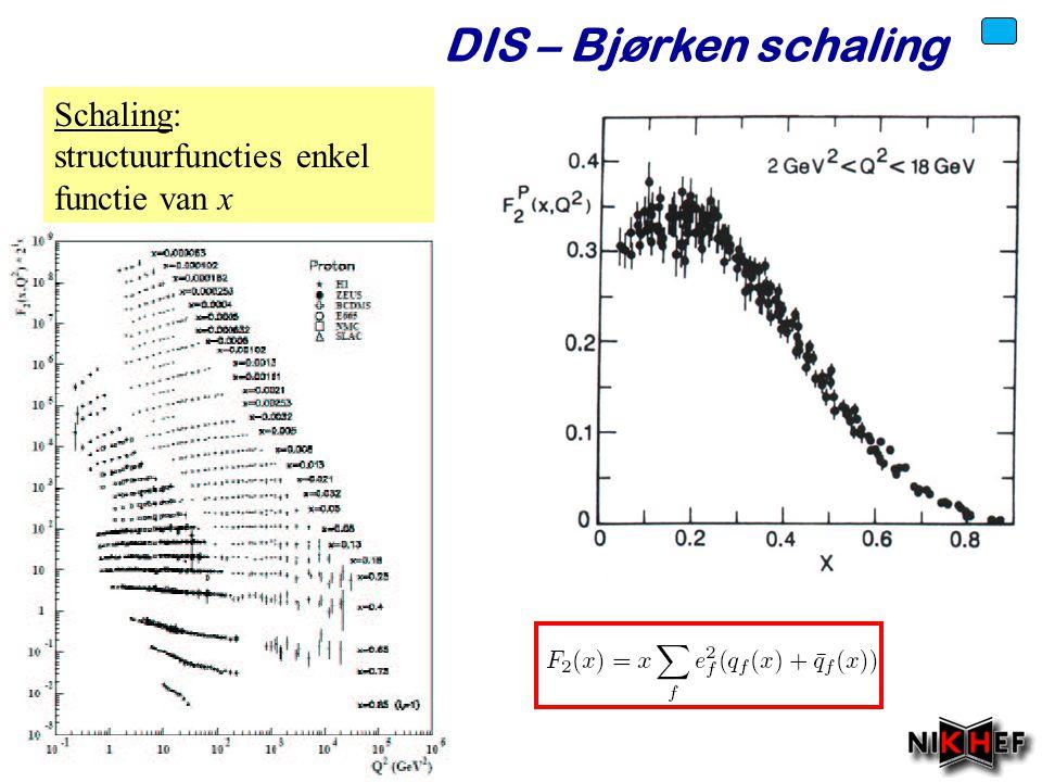 Voorjaar 2010 DIS – Bjørken schaling Schaling: structuurfuncties enkel functie van x